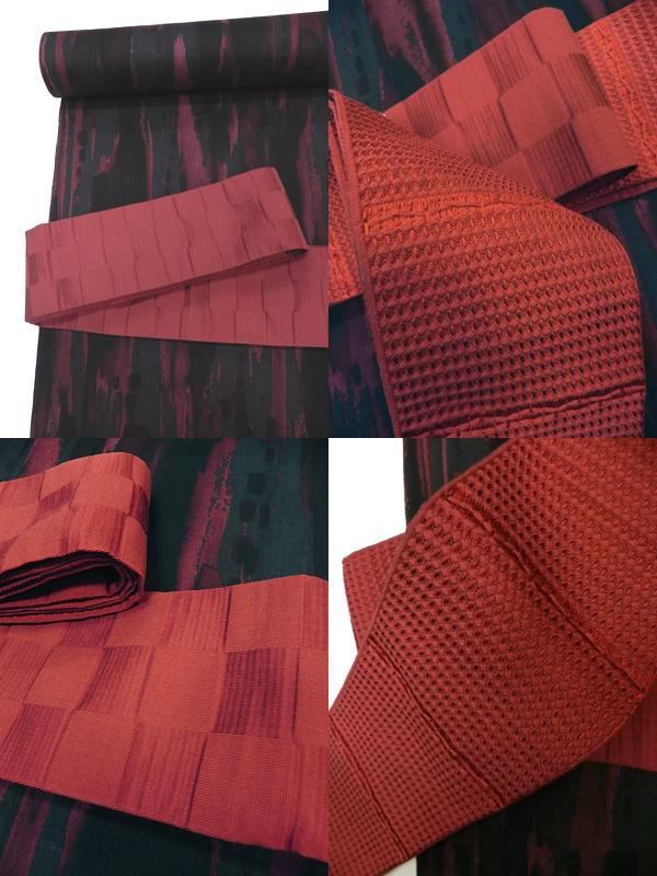 綿絹角帯「茜色」