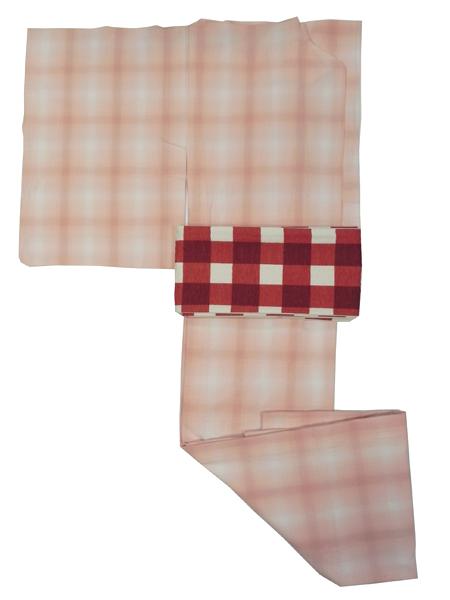 (レディースプレタ)先染木綿着物「ぼかし縞格子/単仕立て」