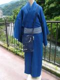 藍染木綿着物「NO32/スラブ織(中紺)」