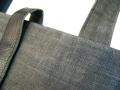 手織り麻布(渋好み)革使いトートバック「墨染」