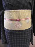 先染木綿着物「MIZUTAMA」帯コーディネート