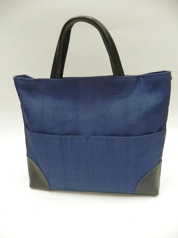 手織り麻革使いスクエアバック(藍)