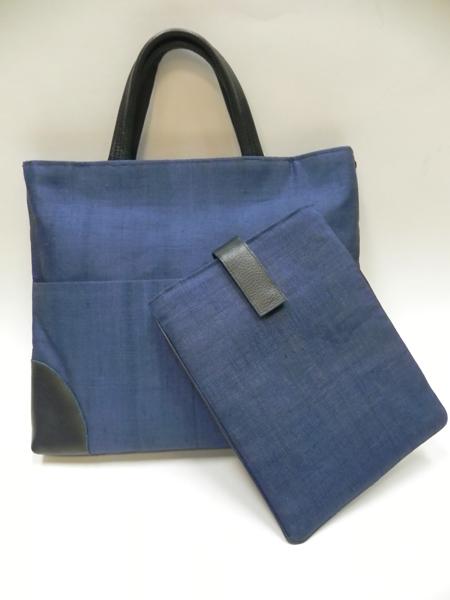 手織り麻革使いバック&タブレットケース(藍)