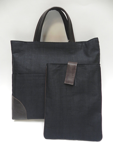 手織り麻革使いバック&タブレットケース(黒)