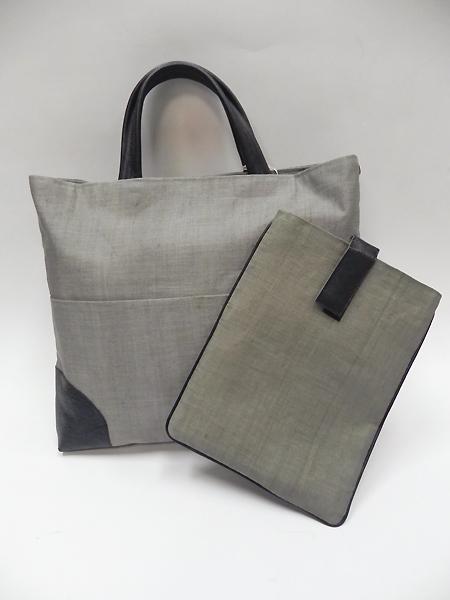 手織り麻革使いバック&タブレットケース(消し墨)