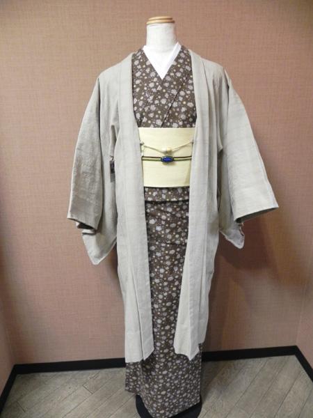 木綿更紗着物「洋花唐草文様」織格子羽織