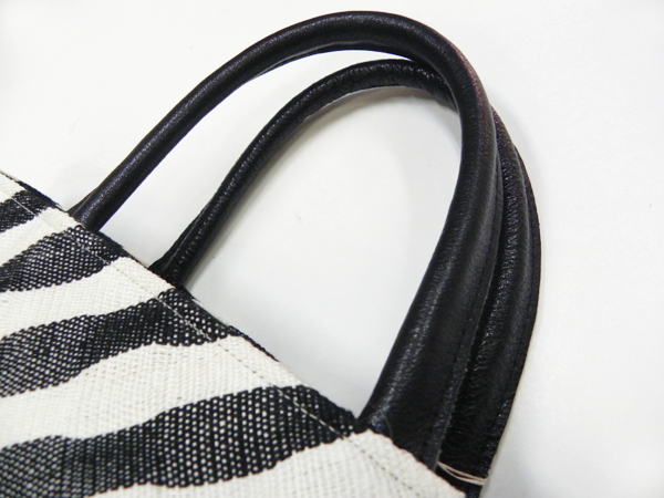 手織り麻「zebra stripe bag/large」