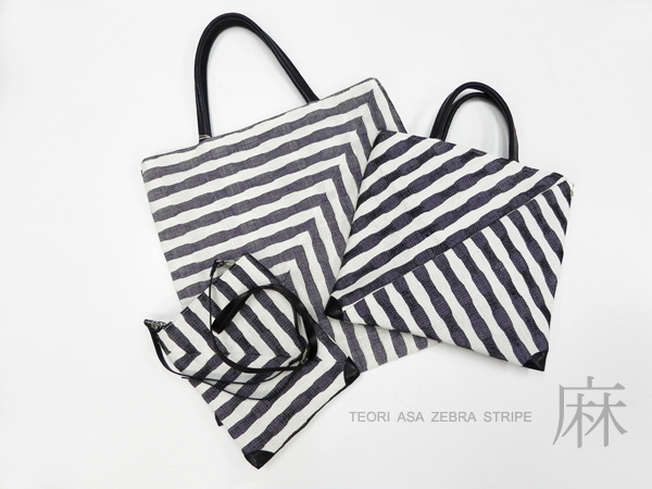 手織り麻「zebra stripe bag」